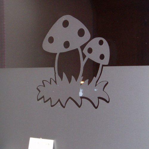 raamfolie paddenstoelen